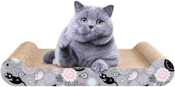 Griffoir en carton ondulé pour chat avec herbe à chat