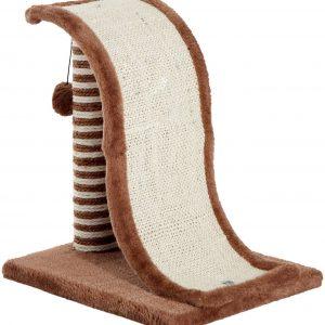 Griffoir marron design avec tronc et boule suspendue pour chat d'intérieur