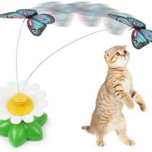 Jouet automatique pour chat Papillon tournant électrique