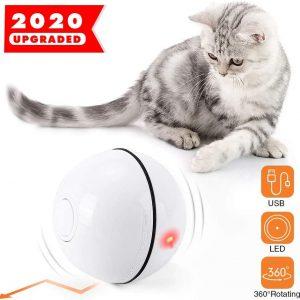 Jouet Interactif pour Chat Boule Rotative avec Lumière LED rechargeable