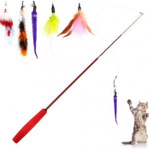 Jouet pour chat baguette rétractable en plume Lot de 6 jouets pour chat