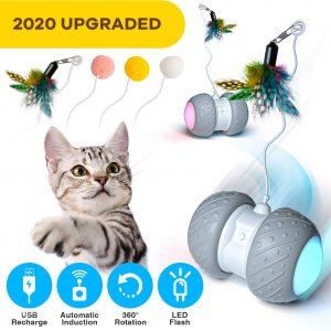 Jouet pour Chat Boule Auto-Rotative 360 degrés avec Lumière LED