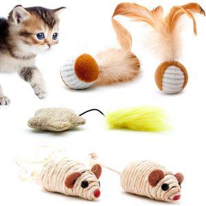 Jouet pour chat en Sisal avec souris et plume Lot de 5