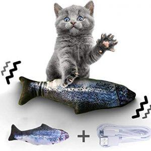 Jouet pour chat Poisson en peluche électronique vibrant et rechargeable