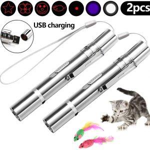 Jouet pour chat souris en plume et lumière interactive avec Voyant LED USB