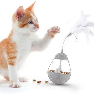 Jouet pour croquettes avec plume et clochette pour chat d'appartement