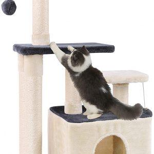 Arbre à chat à griffer Gris et Beige en Sisal Peluche avec Boule 100cm
