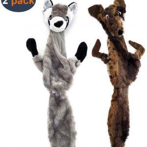Lot de 2 jouets sonores en peluche pour chiens