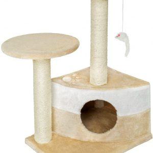 Mini Arbre à chat couleur beige griffoir grattoir avec souris