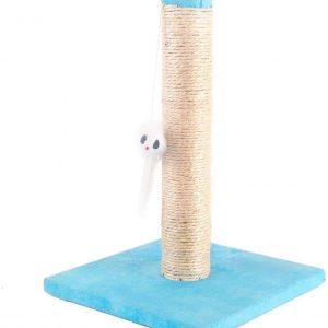 Poteau bleu à griffer pour Chat en sisal avec Jouet