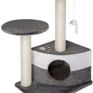 Arbre à chat gris avec colonne de grattage et souris suspendue