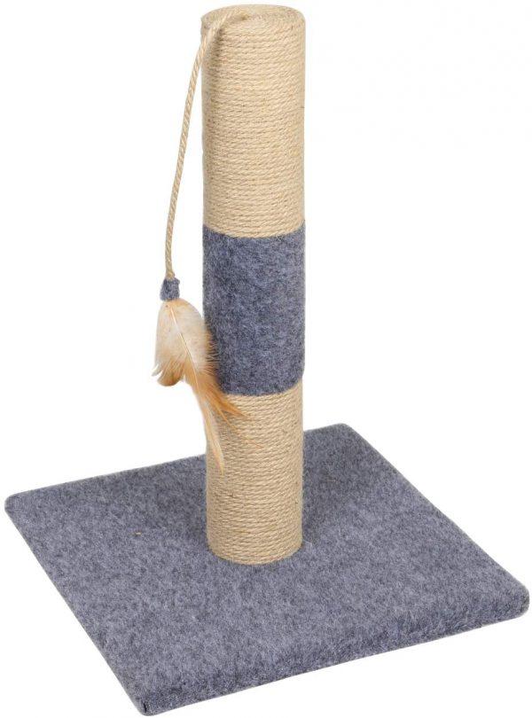Poteau griffoir gris Arbre à chat avec colonne de grattage et plume
