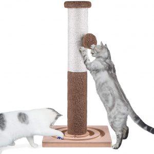 Poteau marron Arbre à chat interactif en sisal avec balle suspendue 60 cm de haut