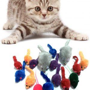 Souris en Peluche pour chat 16 pièces